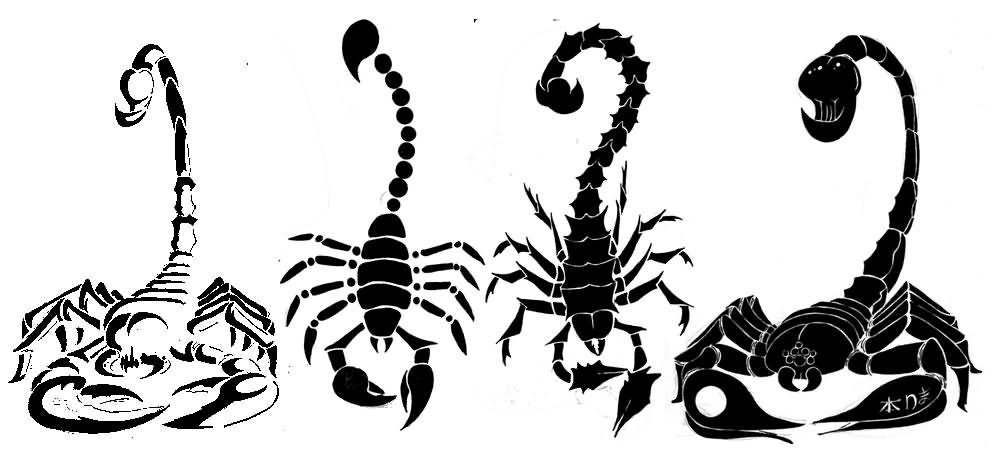 996x450 Black Four Scorpion Tattoo Stencil