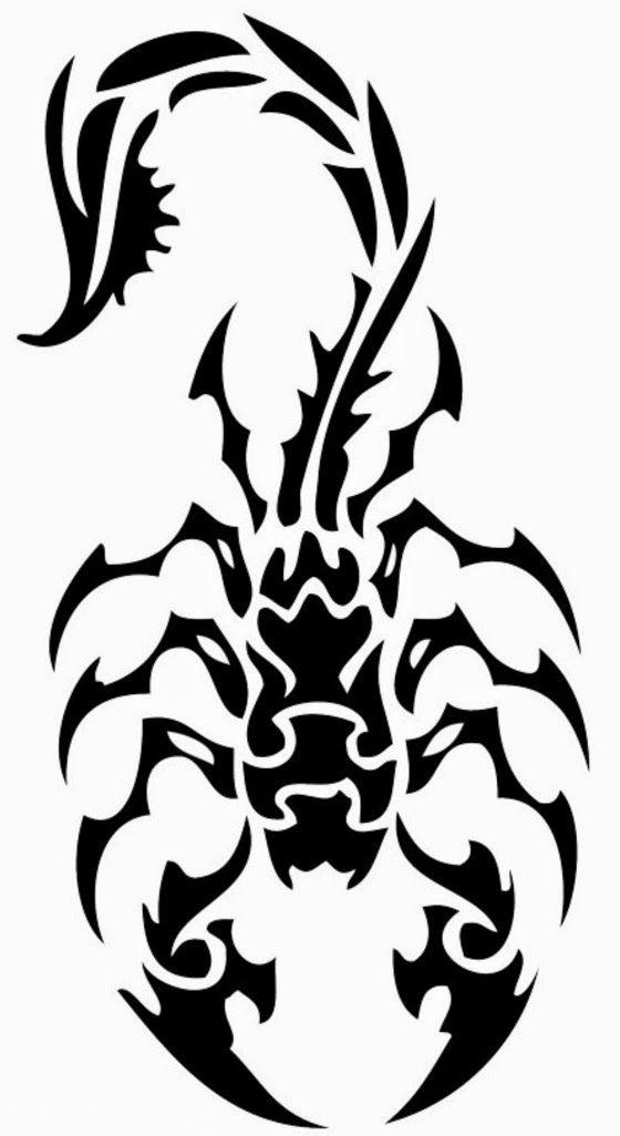 560x1026 Classic Tribal Scorpion Tattoo Stencil D Tattoo