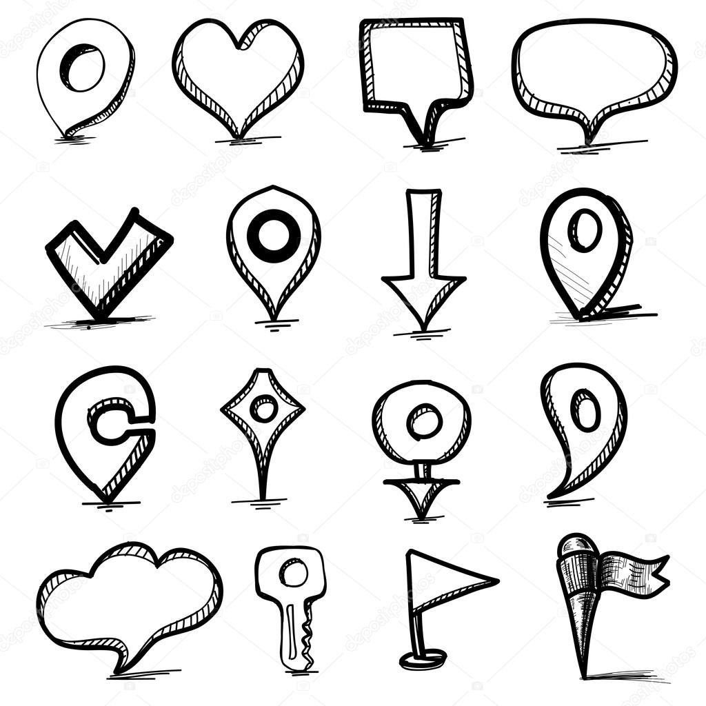 1024x1024 Speech Bubbles, Pointers Simple Shapes Collection Stock Vector