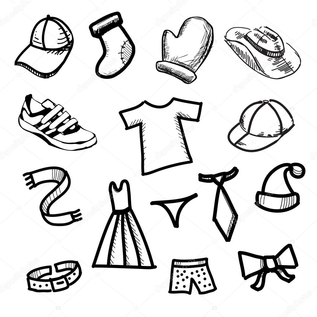 1024x1024 Clothes Simple Shapes Collection Stock Vector Chuhail