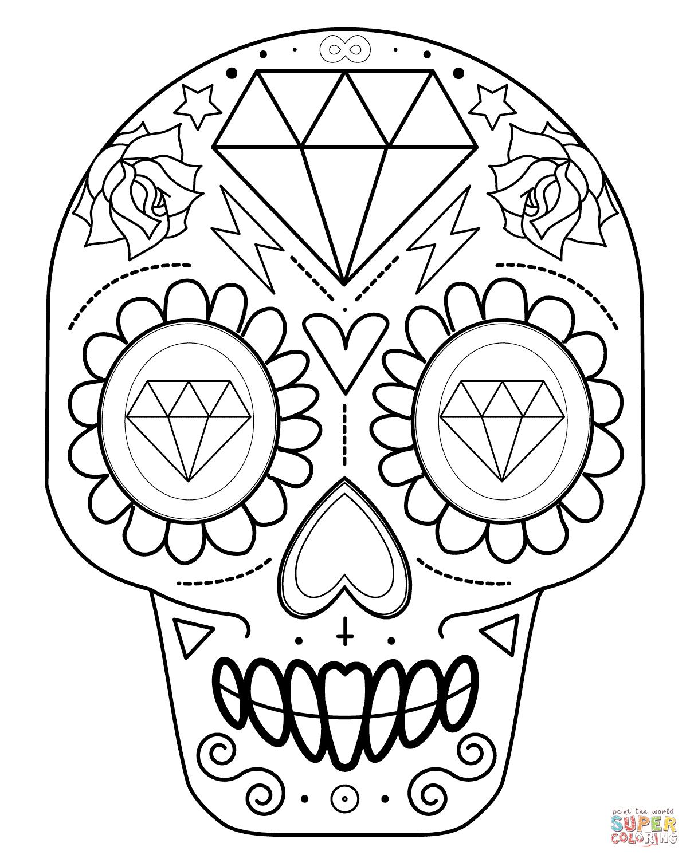 1204x1500 Simple Sugar Skull Drawing Sugar Skull With Diamonds Coloring Page