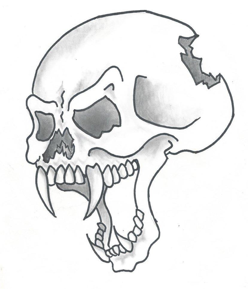 829x964 Cartoon Style Skull By Sticksnstones89