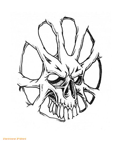 513x600 Collection Of Wicked Skull Spider Tattoo Stencil