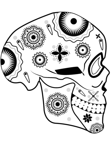 371x480 Sugar Skull Side View Coloring Page Free Printable Coloring Pages