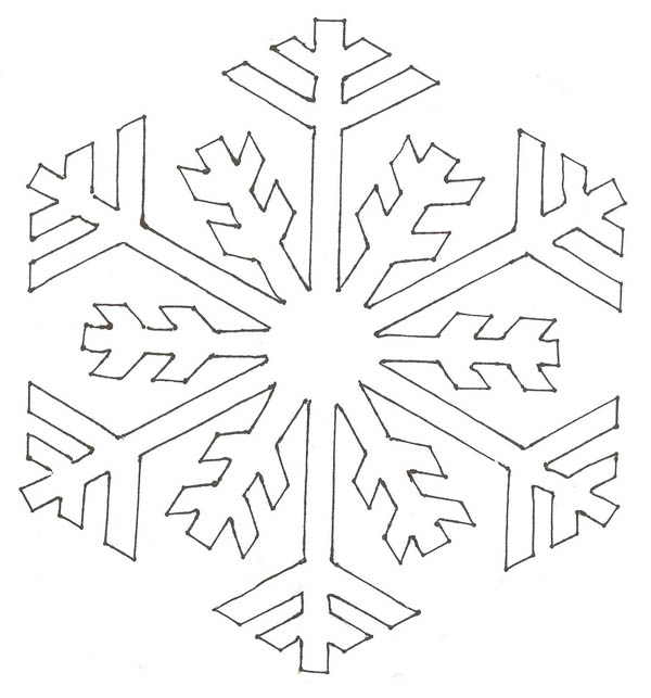 600x643 Snowflake Simple Pattern Coloring Page