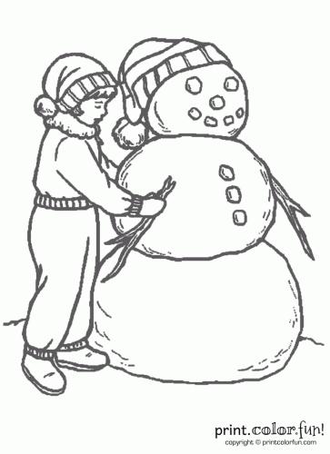 363x500 Fun Snowman Coloring Page