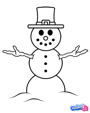 300x377 How To Draw How To Draw A Snowman