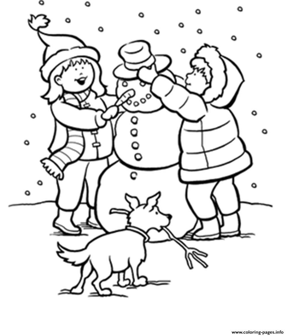 1002x1166 Print Winter Snow S Kids Making Snowman 9baa Coloring Pages 3 4a