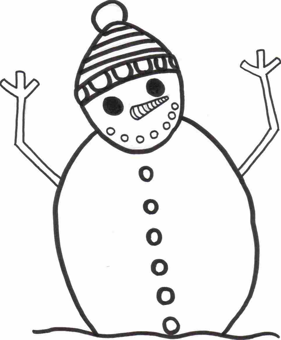 964x1167 Simple Snowman Coloring Page