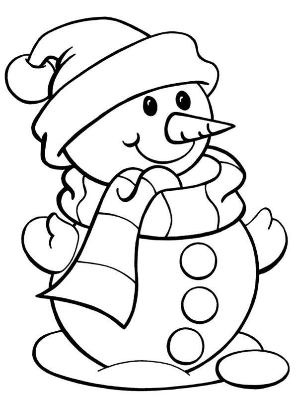 600x799 Cute Snowman Coloring Page Color Luna