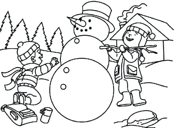 580x428 Snowman Coloring Pages Free Making Snowman Coloring Pages For Kids