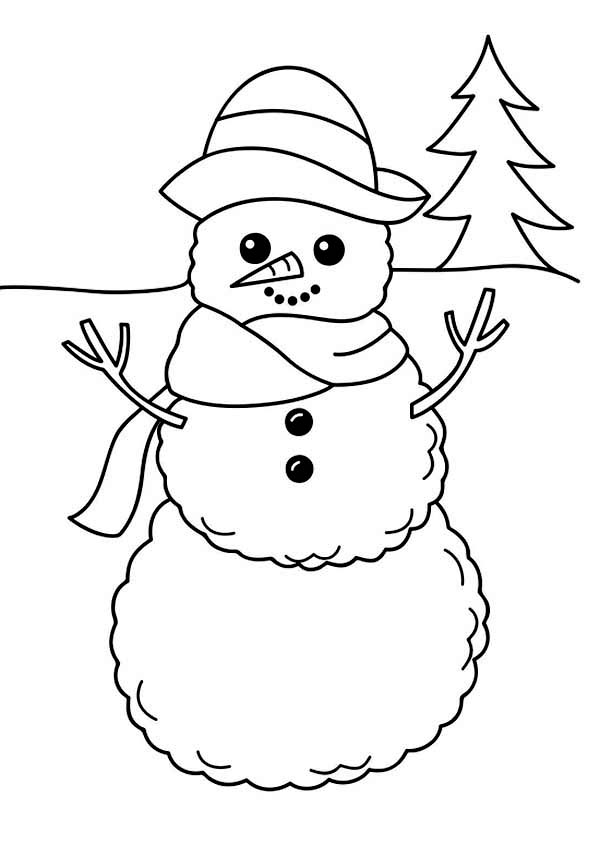 600x845 Winter, A Simple Winter Snowman Figure Coloring Page Coloring