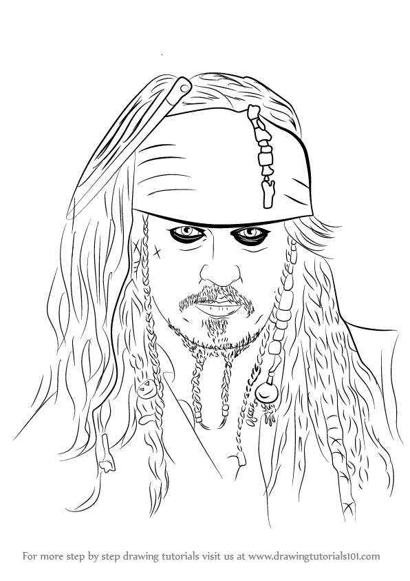 596x843 Learn How To Draw Captain Jack Sparrow (Characters) Step By Step