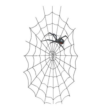 380x380 Simple Black Widow On Spider Web Tattoo Stencil