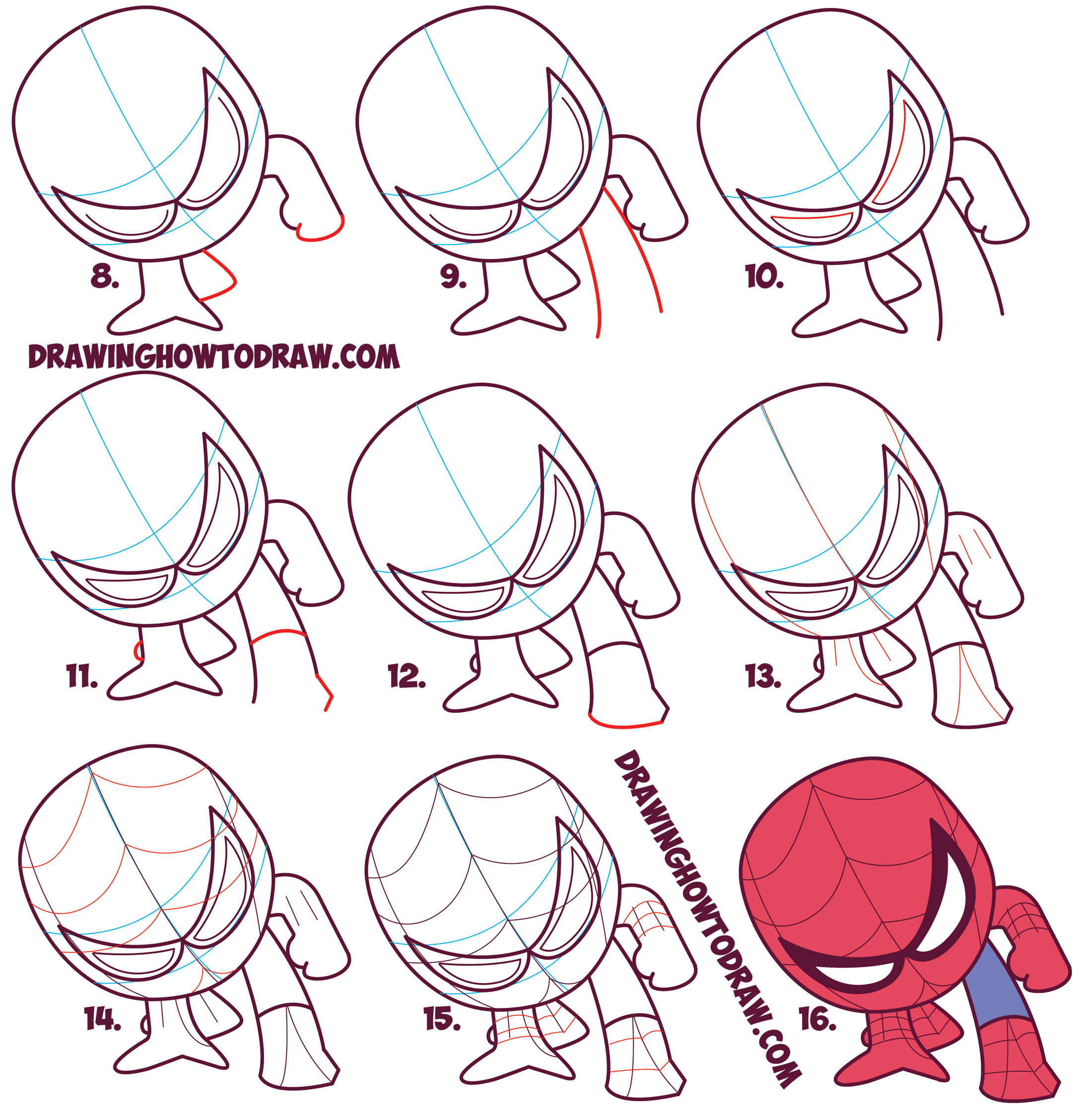 2174x2252 How To Draw Cute Spiderman (Chibi Kawaii) Easy Step By Step