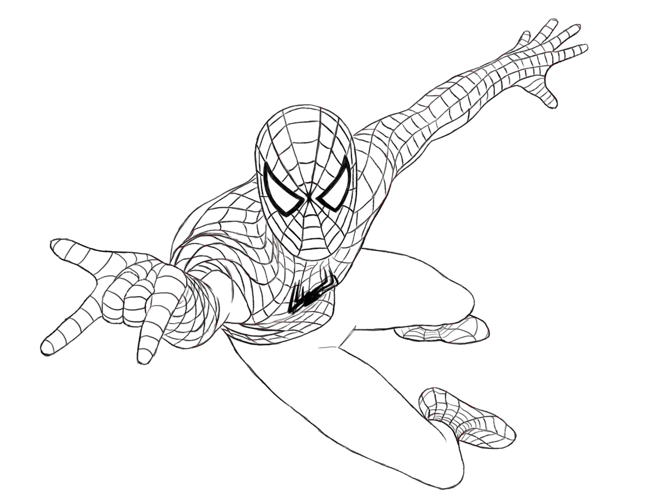 1280x973 A Drawing Of Spiderman How To Draw Spiderman