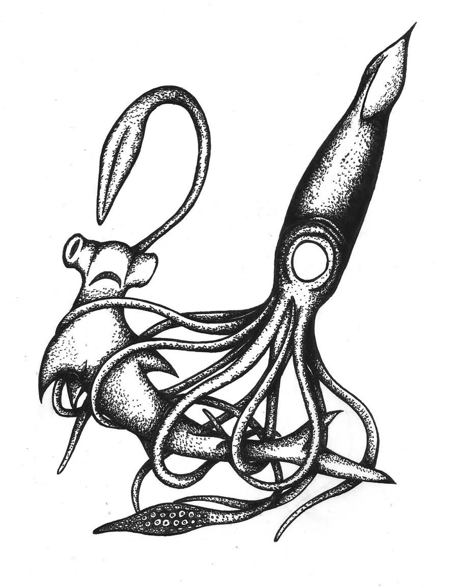 900x1155 Black And White Squid Tattoos