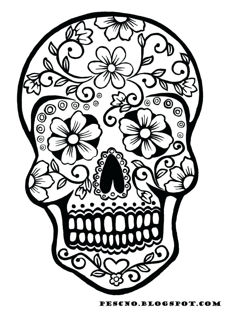 736x1012 Sugar Skull Color Pages Simple Sugar Skull Coloring Pages Sugar