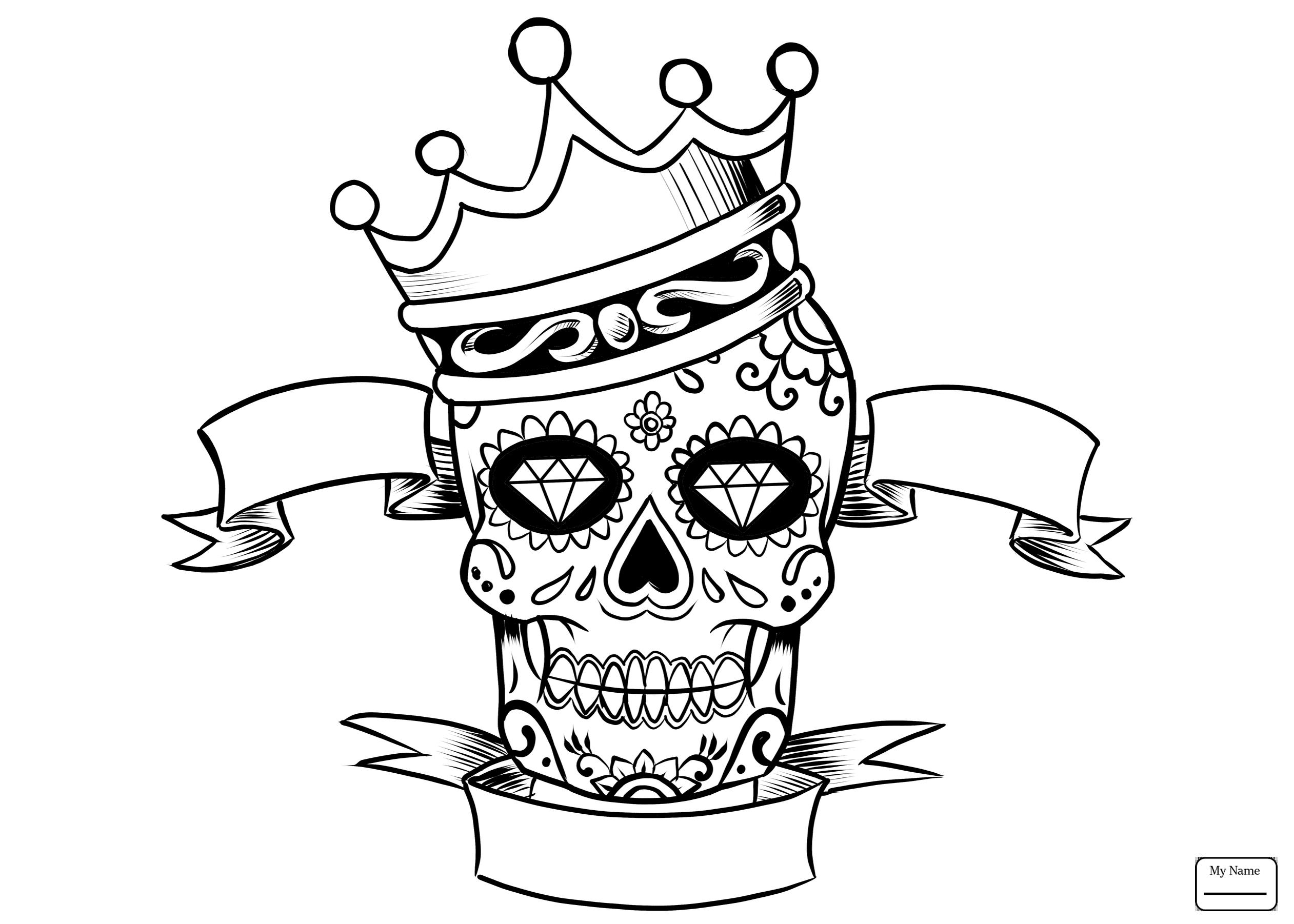 Simple Sugar Skull Drawing at GetDrawings