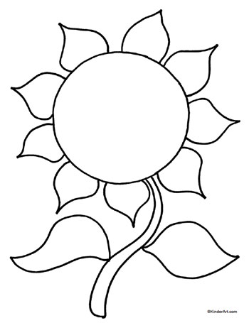 350x455 Easy Sunflower Pictures To Print Free Coloring Page Kinderart