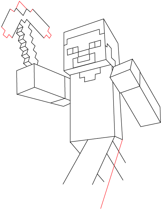 565x734 How To Draw Steve With A Pickaxe From Minecraft With Easy Step By
