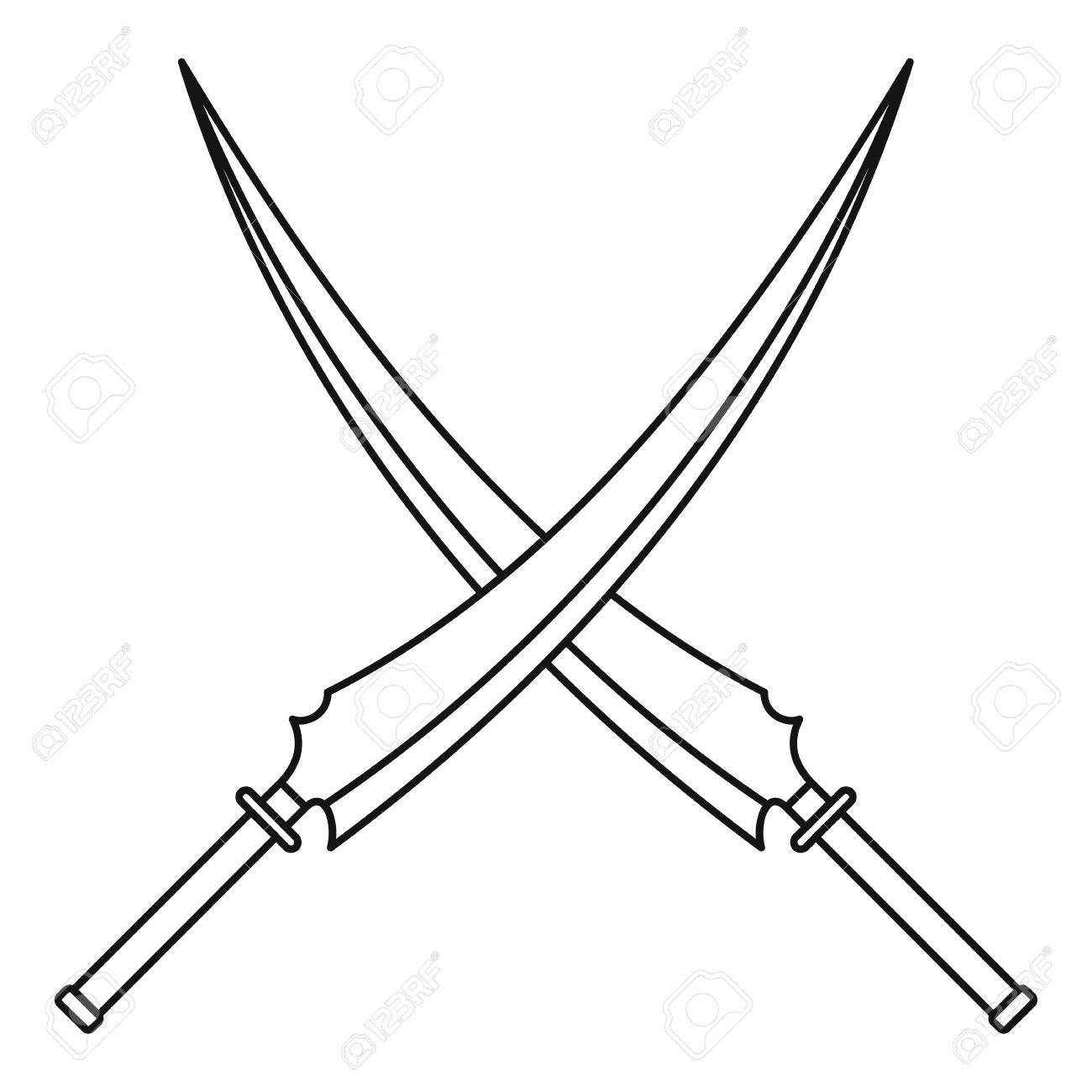 1300x1300 Japanese Samurai Swords Icon, Outline Style Royalty Free Cliparts