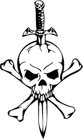 287x480 Skull With A Sword And Two Bones Coloring Page Free Printable