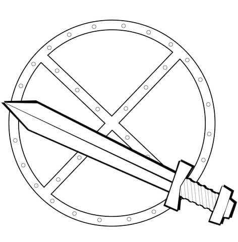 472x480 Sword And Shield Coloring Page Free Printable Pages