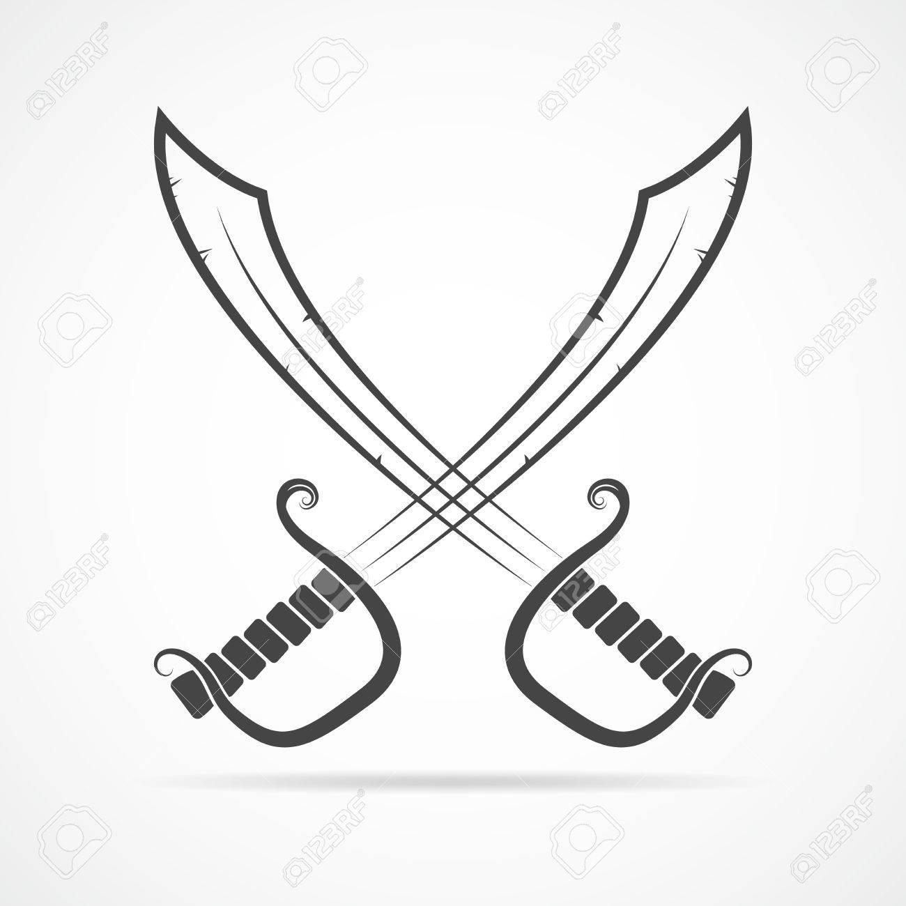 1300x1300 Two Crossed Swords In Flat Design. Simple Black Sword Icon