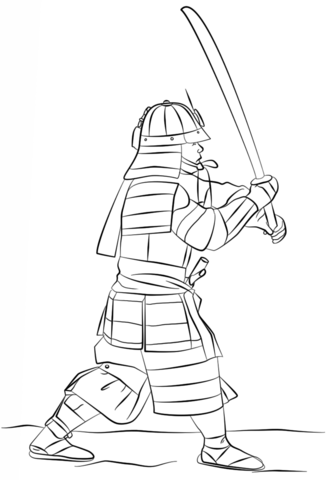 333x480 Armored Samurai With Sword Coloring Page Free Printable Coloring