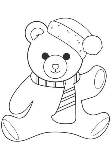 360x480 Christmas Teddy Bear Coloring Page Free Printable Pages