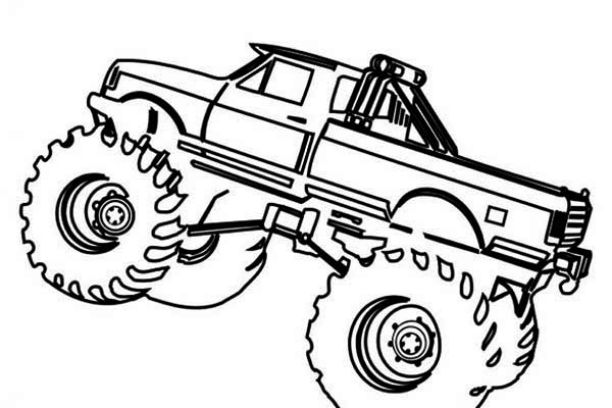 612x408 Simple Monster Truck Coloring Pages
