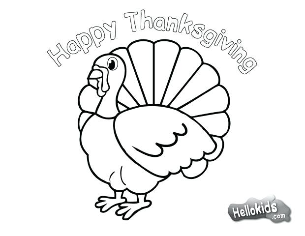 620x480 Simple Happy Thanksgiving Coloring Pages Online Turkey Free