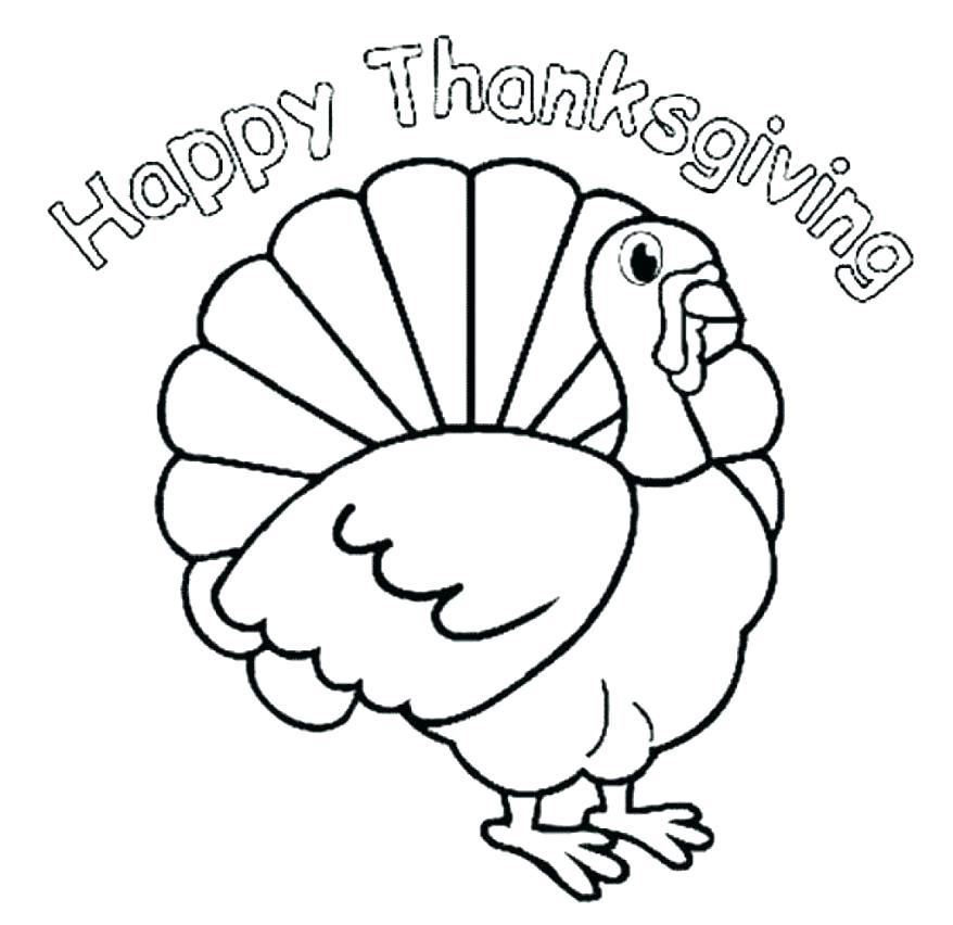 878x852 Simple Thanksgiving Turkey Coloring Pages