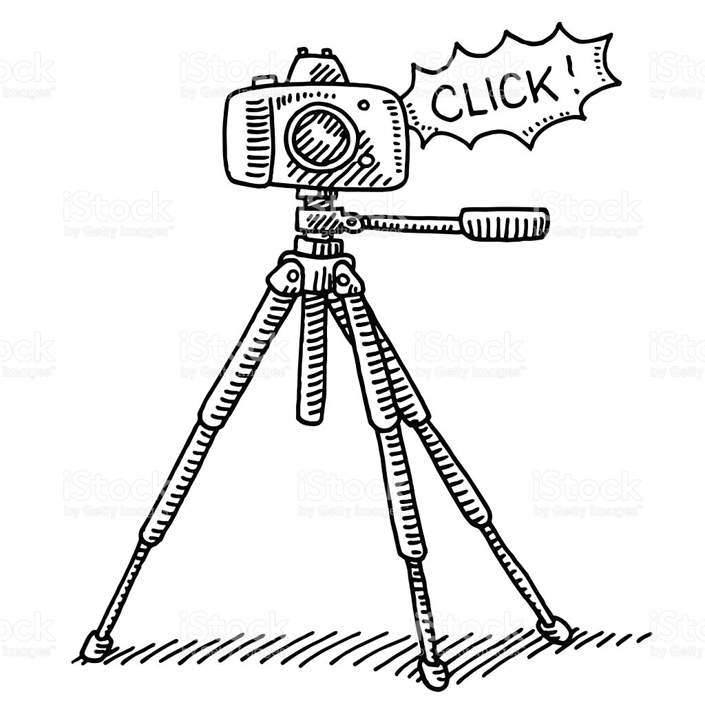 1024x1024 Hand Drawn Vector Drawing Of A Photography Camera On A Tripod