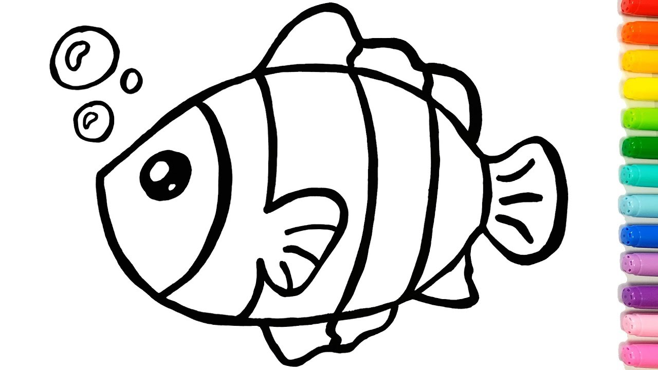 1280x720 clown fish example simple drawing for children colouring videos