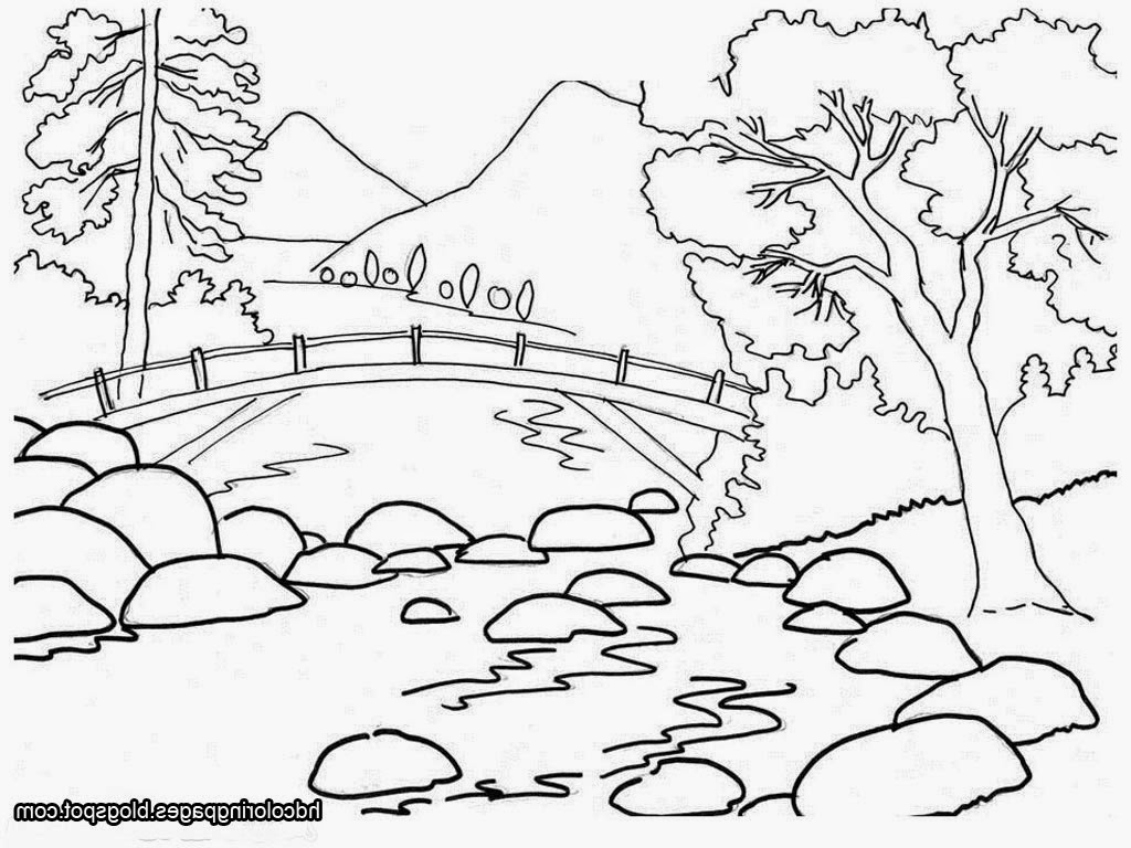 coloring page nature - simple village drawing at free for