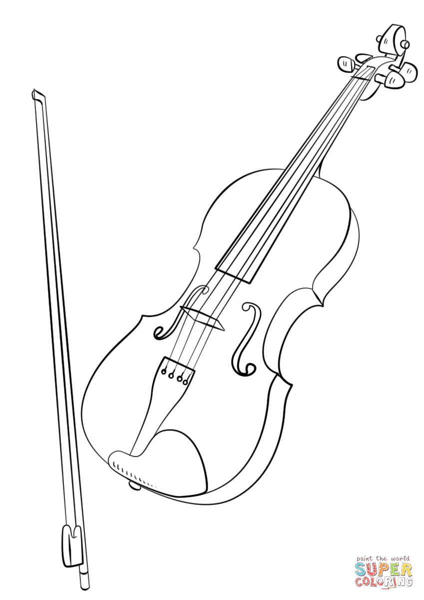 849x1200 Violin And Bow Coloring Page Free Printable Coloring Pages