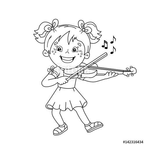 500x500 Coloring Page Outline Of Cartoon Girl Playing The Violin. Musical