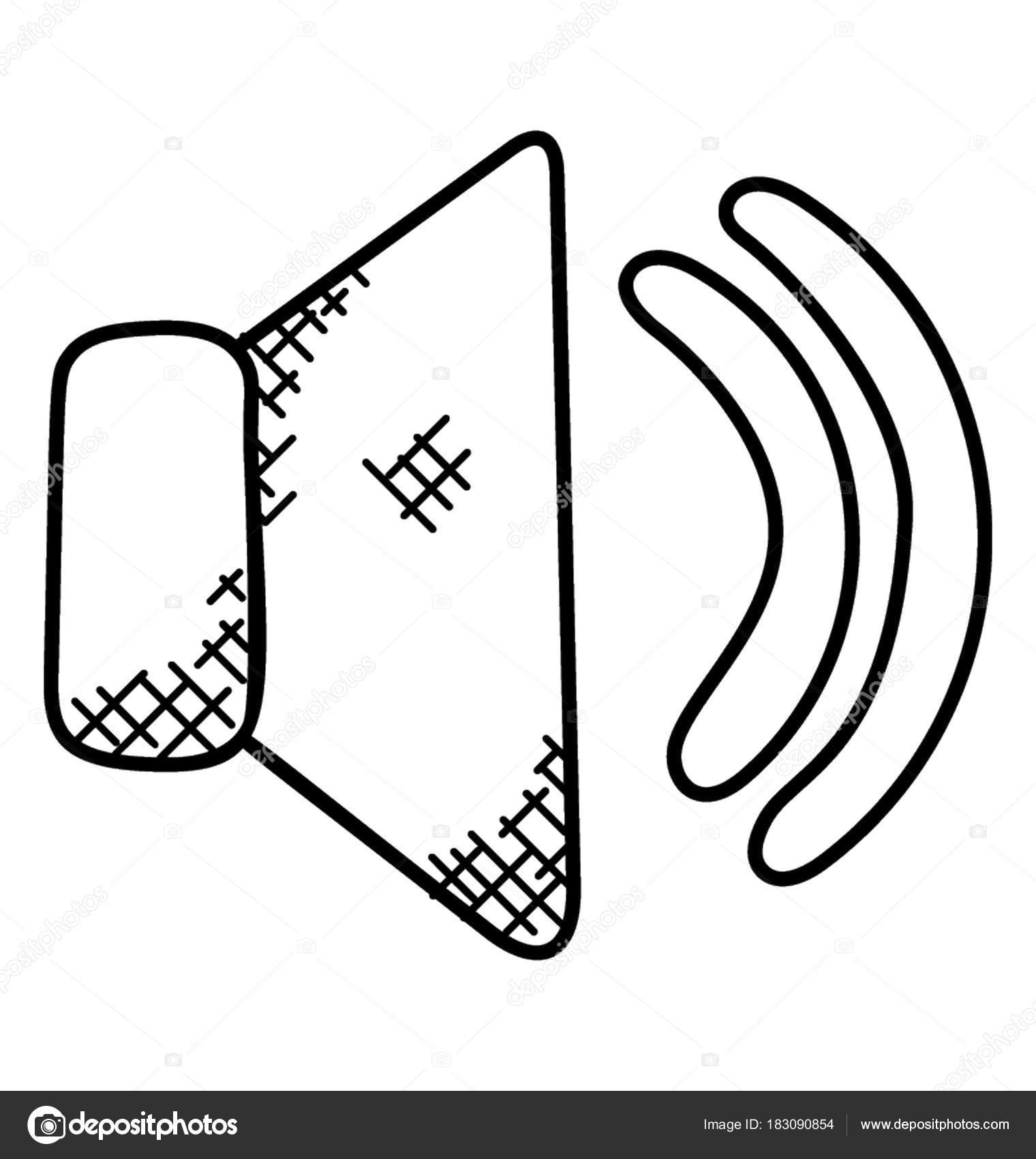 1520x1700 Simple Doodle Icon Loudspeaker Waves Representing Volume Icon