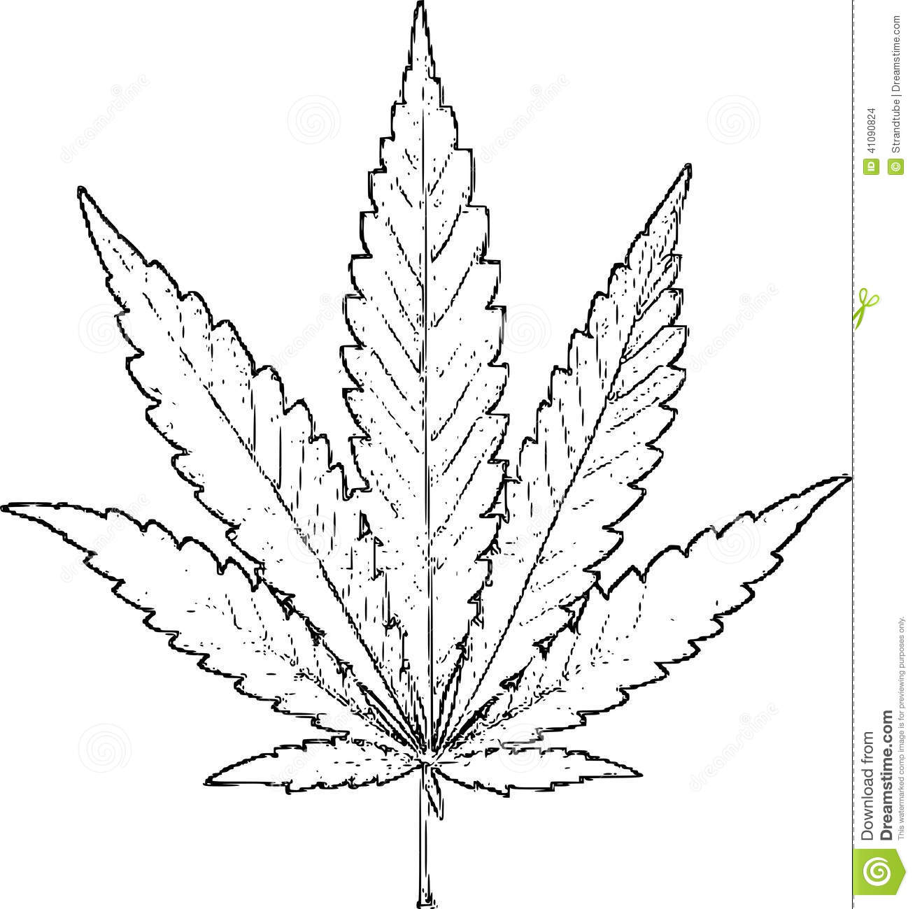 Simple weed leaf drawing at free for for Marijuana coloring pages