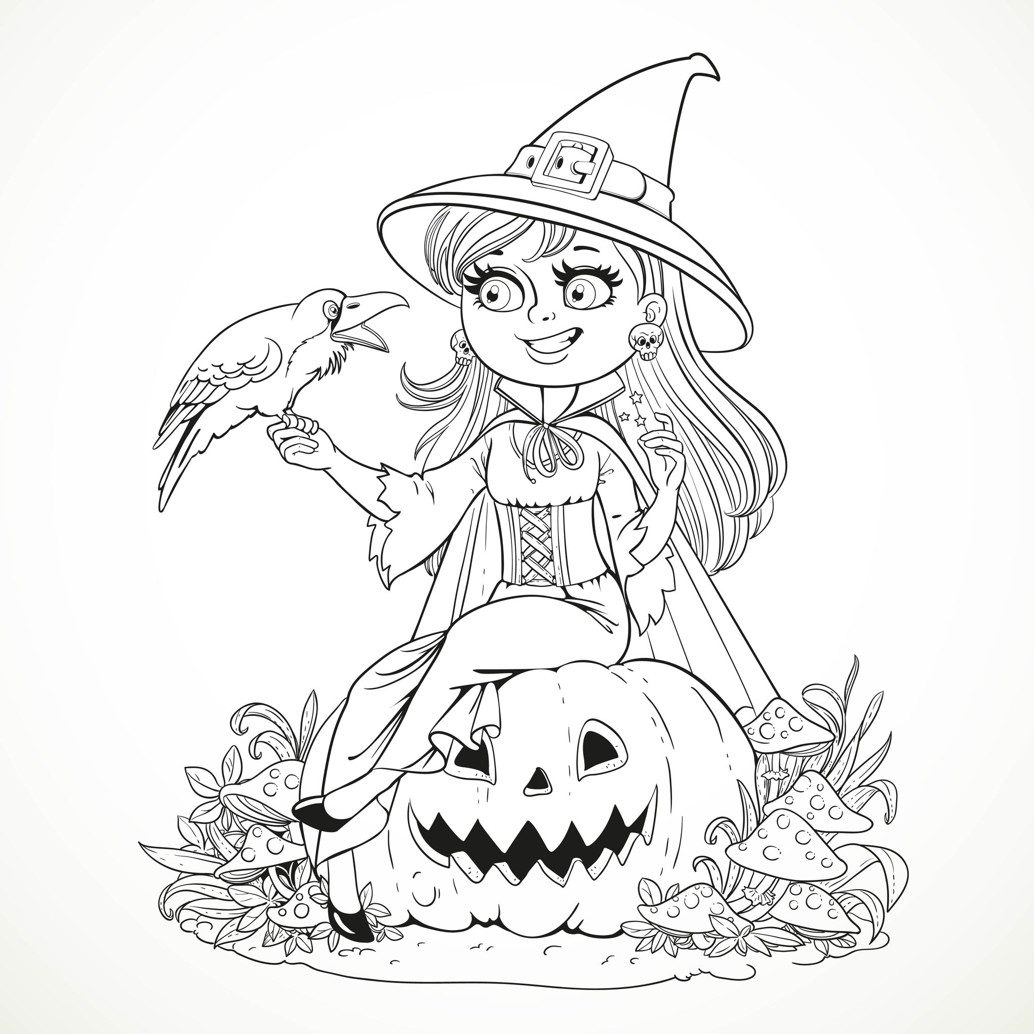 2048x2048 Halloween Smiling Witch And Crow By Azuzl
