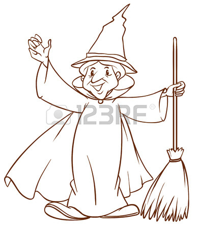 395x450 Illustration Of A Simple Coloured Drawing Of A Scary Witch