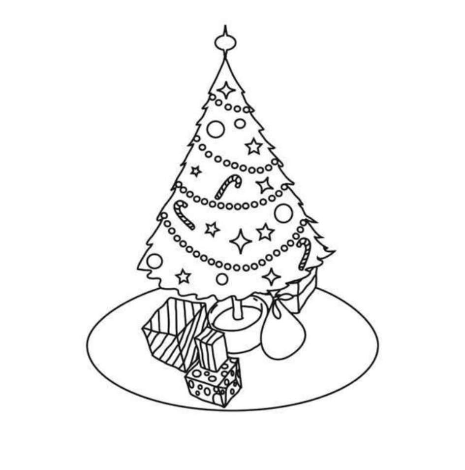 945x954 Simple Christmas Tree Coloring Pages For Kids Printable