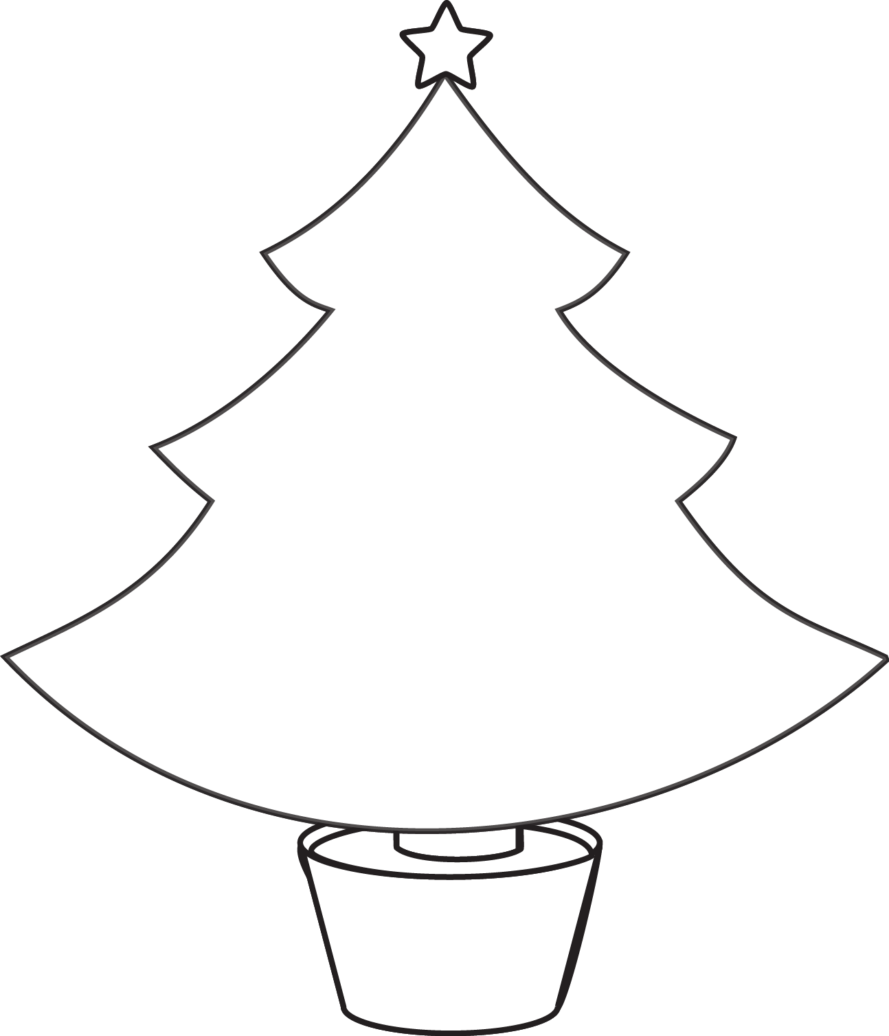 Christmas Tree Clipart Black And White.Simple Xmas Tree Drawing At Getdrawings Com Free For