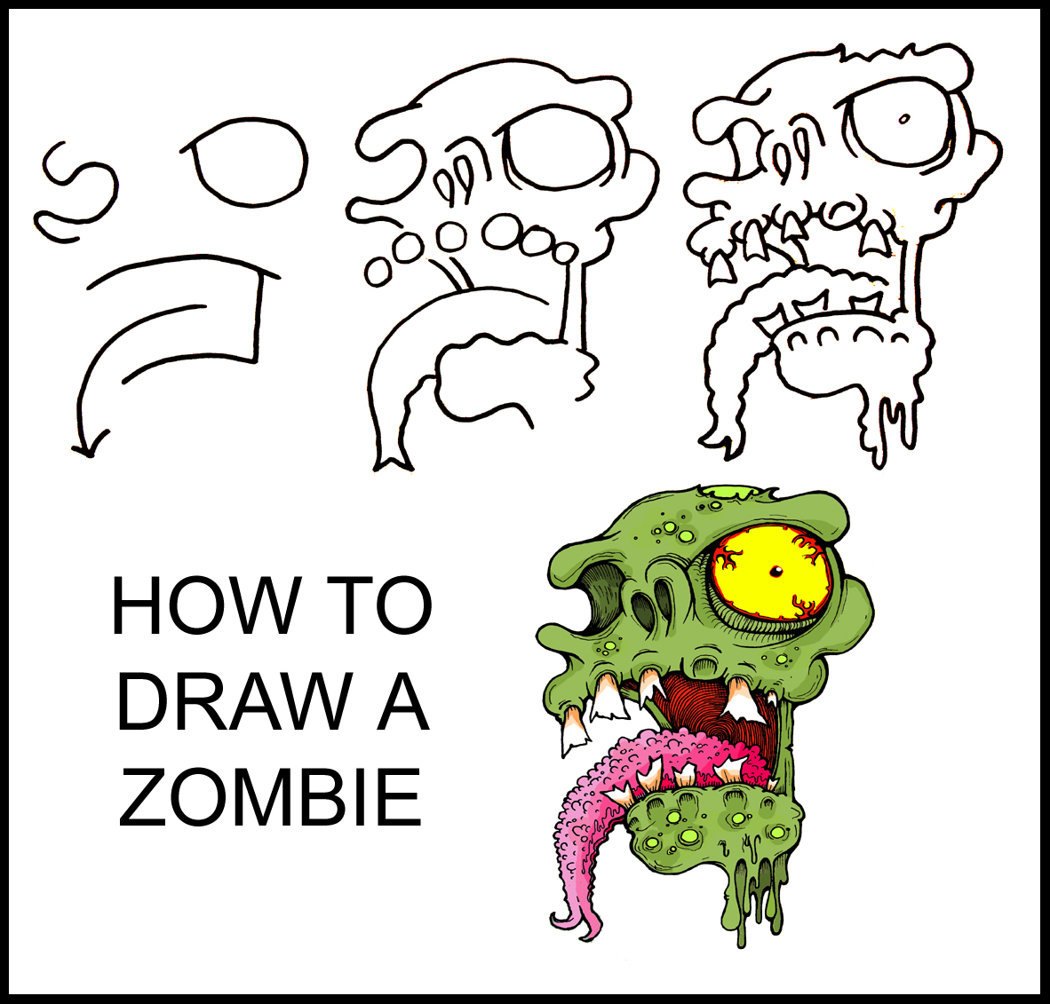 1182x1131 How To Draw A Zombie Step By Step Art Guide Daryl Hobson Artwork