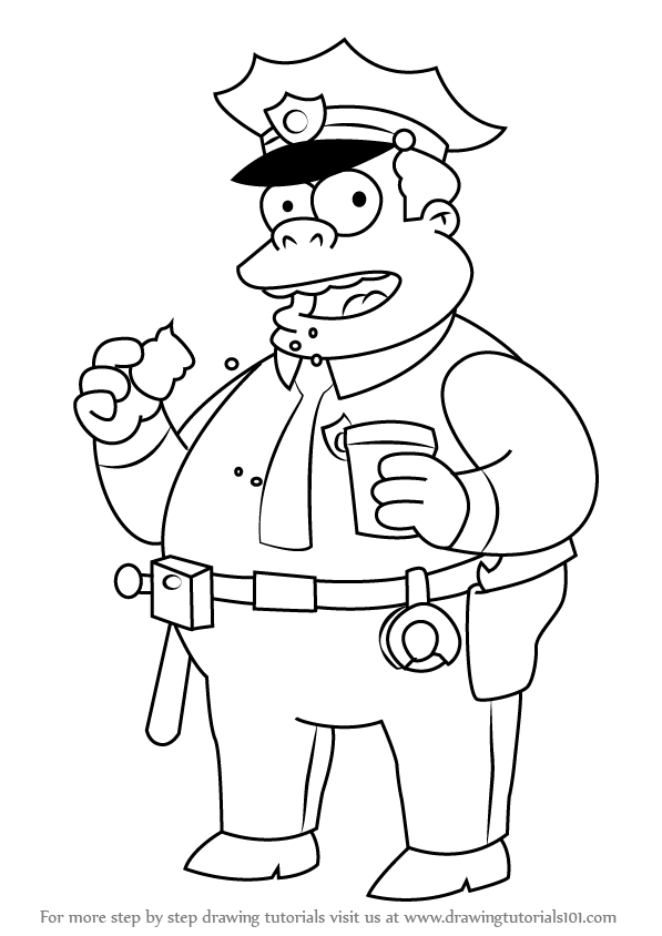 597x844 Learn How To Draw Chief Clancy Wiggum From The Simpsons (The