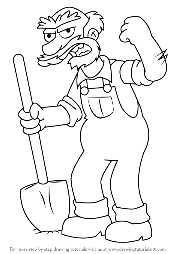 597x844 Learn How To Draw Groundskeeper Willie From The Simpsons (The