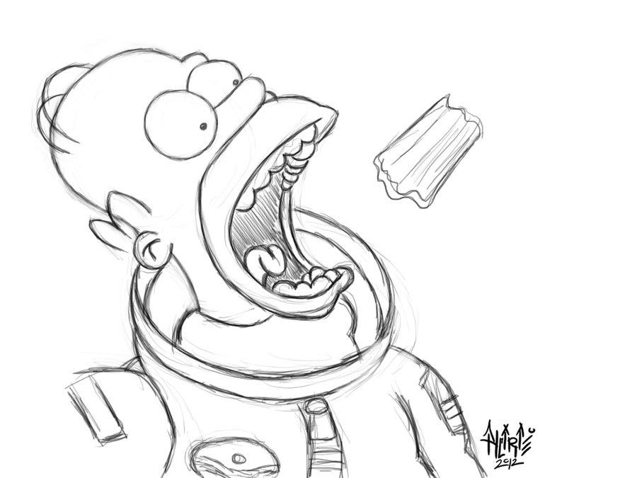 900x675 Homer Simpson (Sketch) By Aalcaraz78