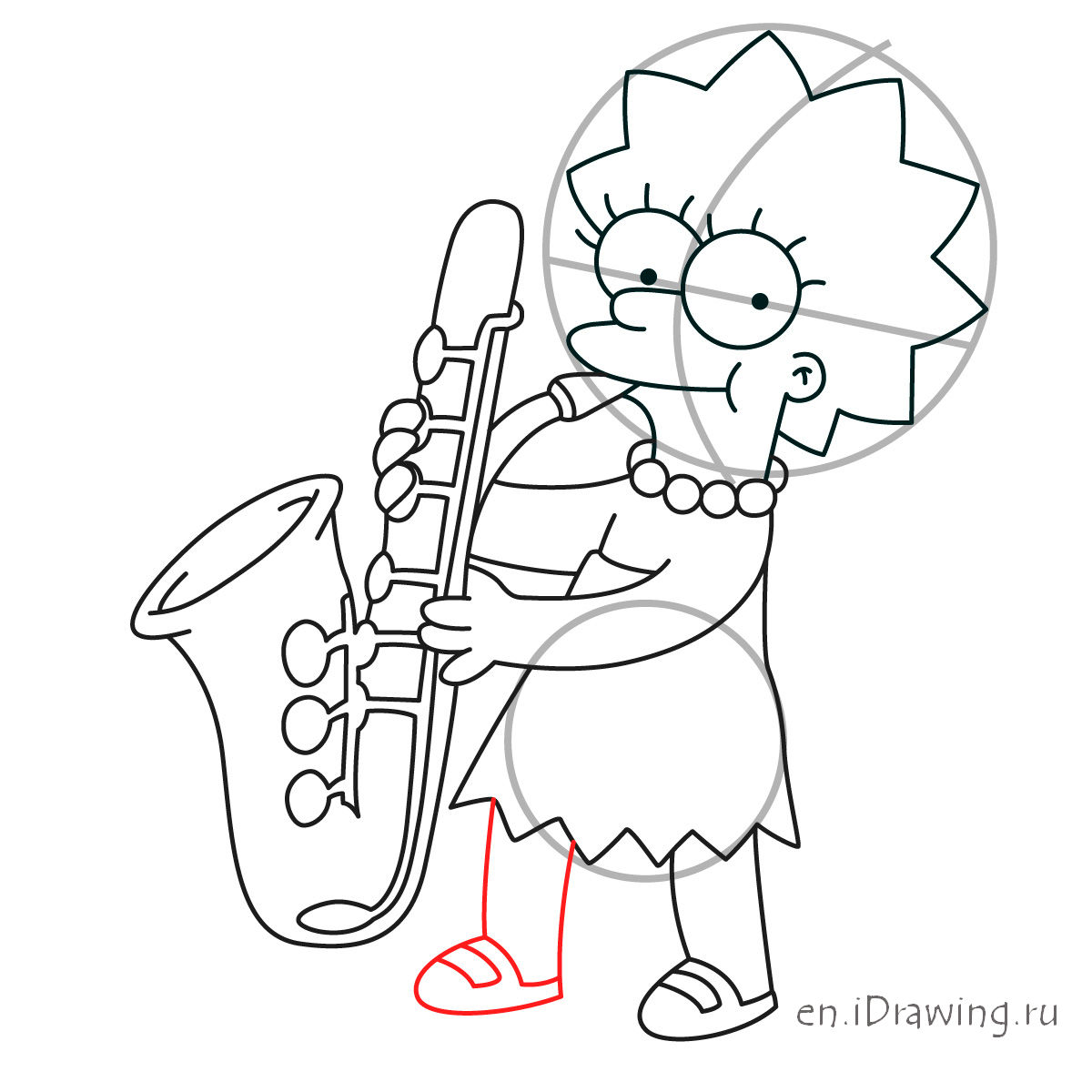 1200x1200 How To Draw Lisa Simpson Playing The Saxophone